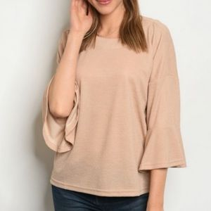 Tops - Taupe Ruffle Sleeve Blouse